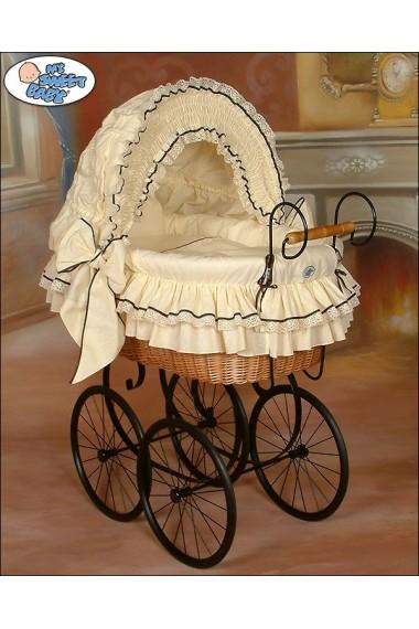 Berceau bébé Vintage Rétro osier - Crème-Noir