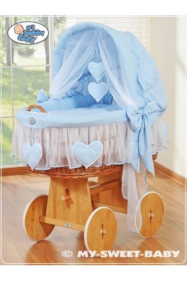 Berceau bébé osier Coeurs - Bleu