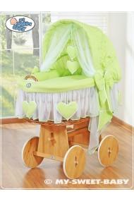 Berceau bébé osier Coeurs - Vert