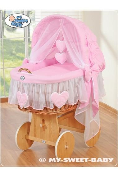 Berceau bébé osier Coeurs - Rose