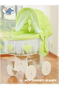 Berceau bébé osier Coeurs - Vert-Blanc