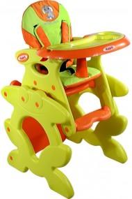 Chaise haute transformable en table et chaise orange
