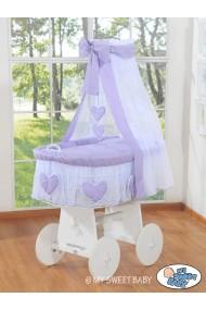 Berceau bébé osier Coeurs - Violette-Blanc