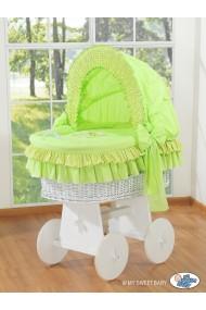 Berceau bébé osier Teddy - Vert-blanc