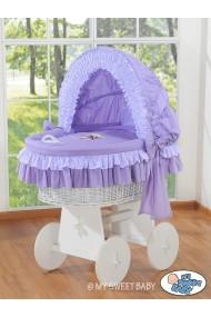 Berceau bébé osier Teddy - Violette-blanc