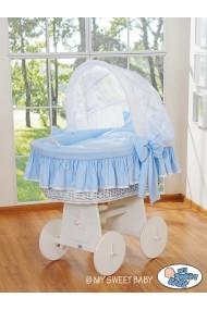 Berceau bébé osier Glamour - Bleu-Blanc