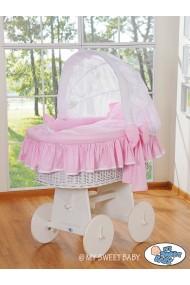 Berceau bébé osier Glamour - Rose-Blanc