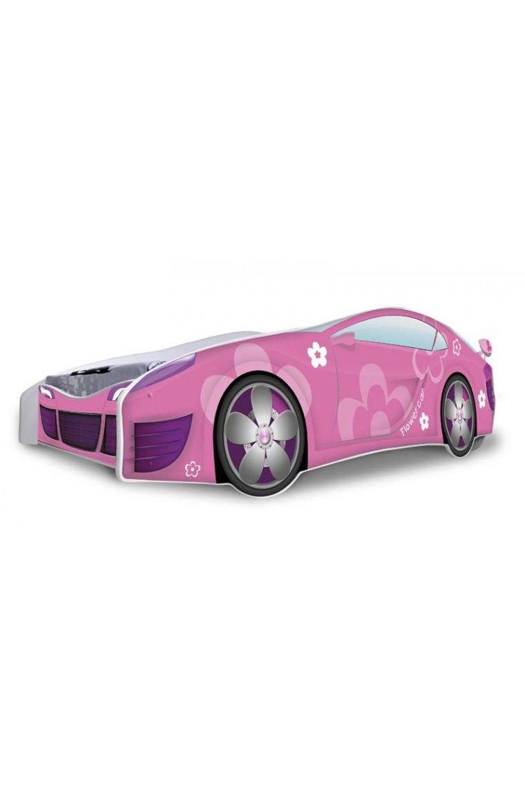 lit voiture fille rose fleurs avec matelas 180x80