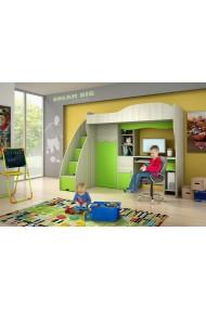 Lit mezzanine superposé combiné avec bureau et armoire Vert Conte 190x80cm