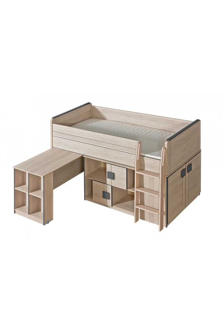 lit mezzanine superposé combiné avec bureau et armoire vert conte 1