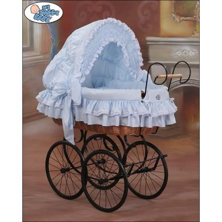Berceau bébé Vintage Rétro osier - Bleu-Noir