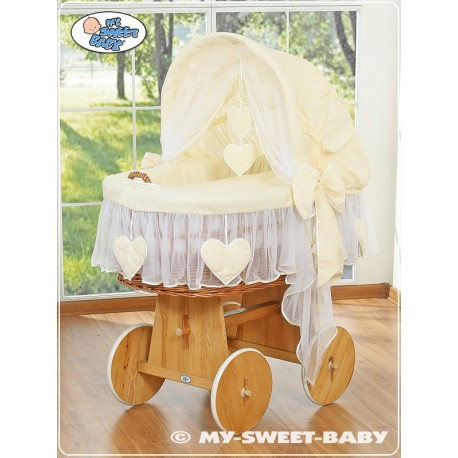 Berceau bébé osier Coeurs - Crème