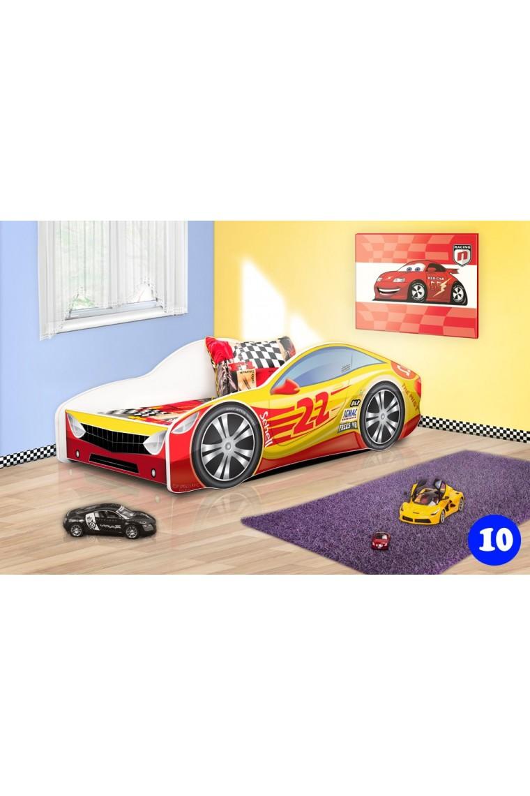 Lit voiture de course avec matelas 140x70 cm - Lit voiture de course ...