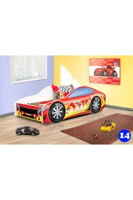 Lit voiture de course avec matelas 180x80