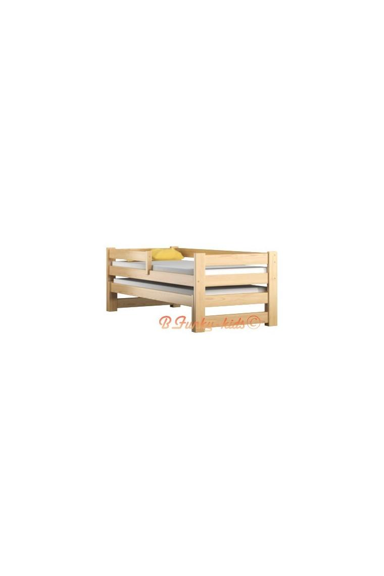 Lit gigogne en bois massif avec tiroir et matelas pablo 190x80 cm - Lit gigogne avec matelas ...
