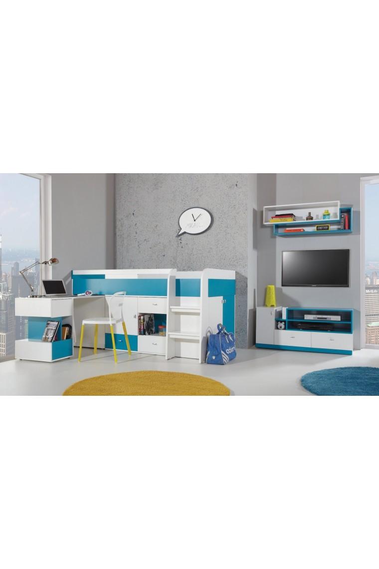 Lit mezzanine sur lev combin avec bureau et commode mobby 200x90 cm - Lit mezzanine combine ...