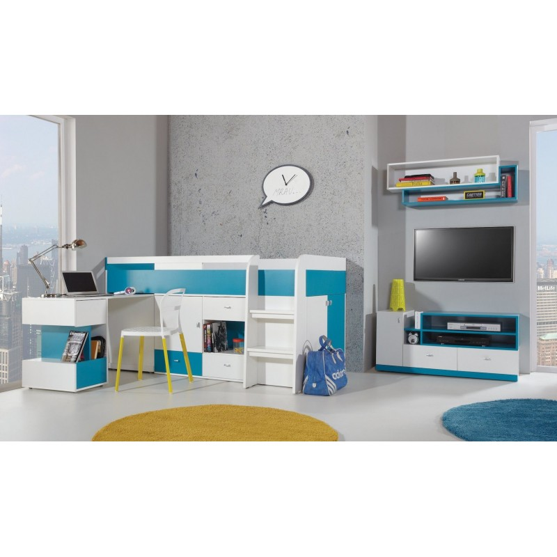 Lit mezzanine sur lev combin avec bureau et commode - Lit mezzanine combine bureau ...