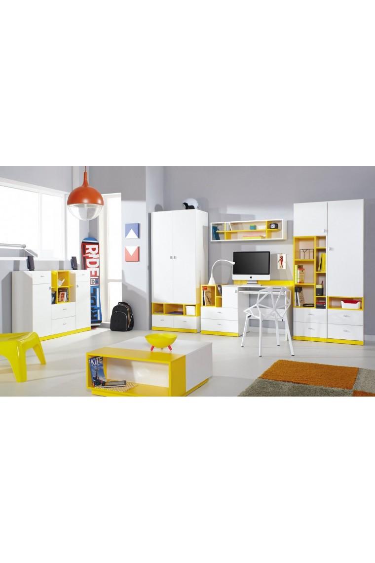 Lit mezzanine sur lev combin avec bureau et commode mobby 200x90 cm - Lit sureleve avec bureau integre ...