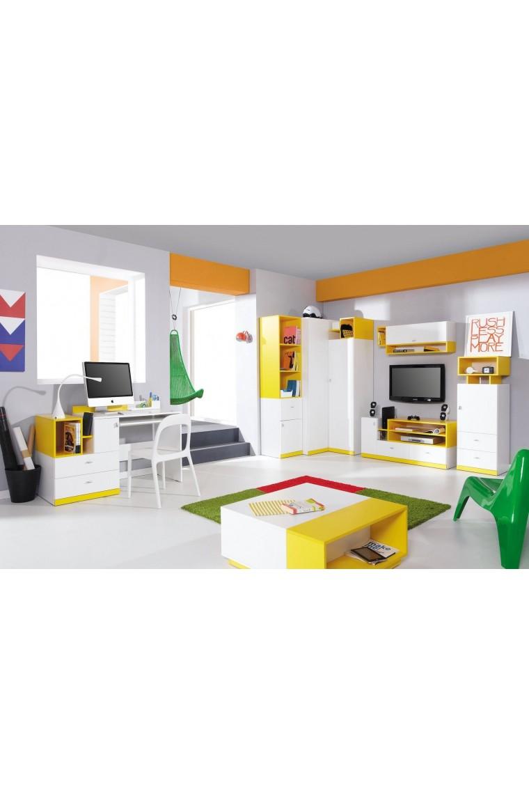 Lit mezzanine sur lev combin avec bureau et commode mobby 200x90 cm - Lit superpose combine bureau ...