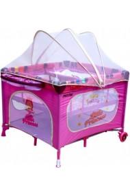 Parc bébé carré et lit voyage double jumeaux 2 en 1 rose Princesse