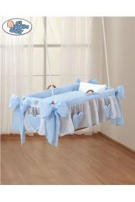 Berceau bébé suspendu en osier Coeurs Bleus