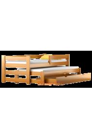 Lit gigogne en bois massif avec tiroir et matelas Pablo 160x80 cm