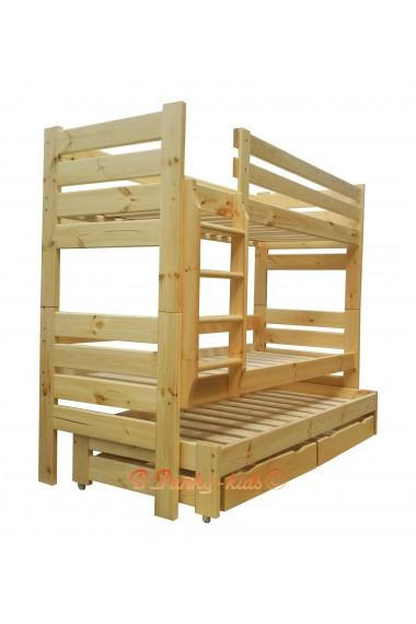 Lit superposé avec lit gigogne Gustavo 3 avec matelas et tiroirs 180x80 cm