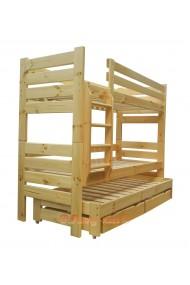 Lit superposé avec lit gigogne Gustavo 3 avec matelas et tiroirs 190x80 cm