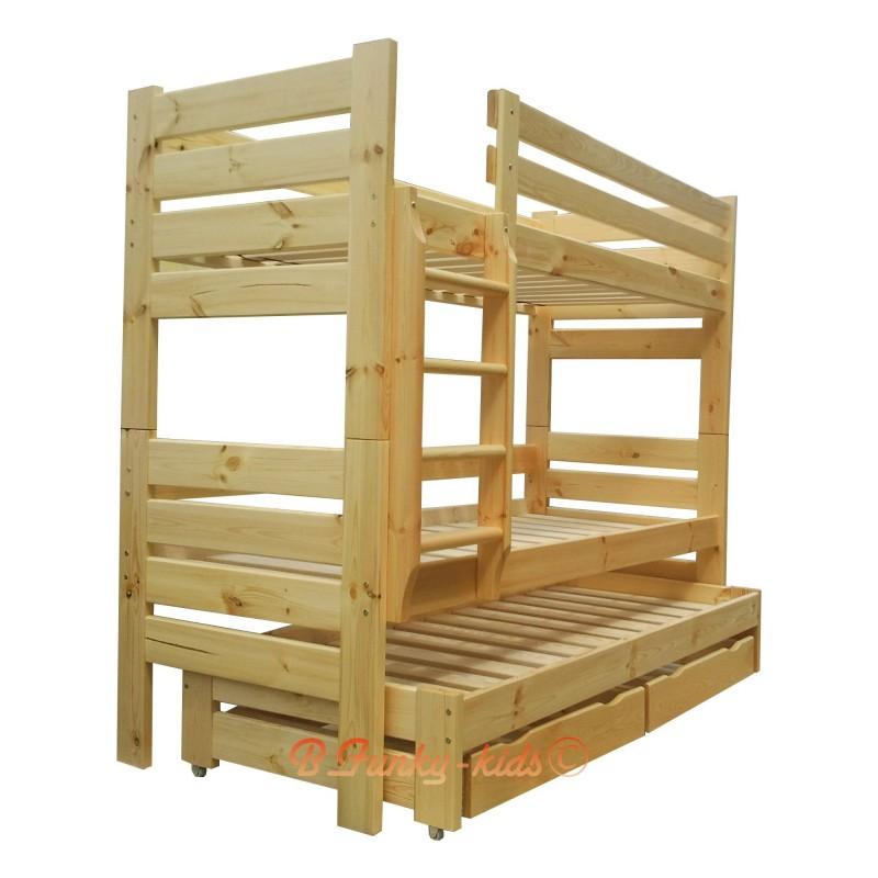 Lit superpos avec lit gigogne gustavo 3 avec matelas et tiroirs 20 - Lit superpose pour 3 personnes ...