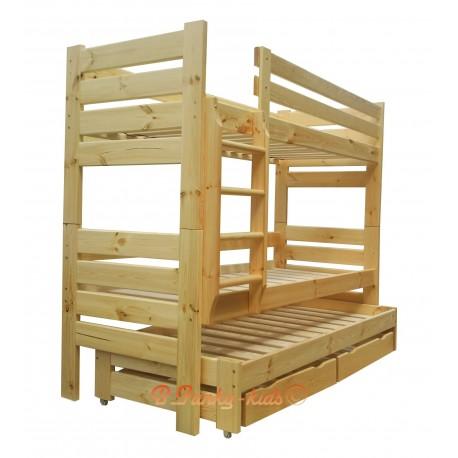 Lit superposé avec lit gigogne Gustavo 3 avec matelas et tiroirs 180x90 cm