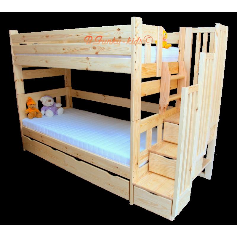 Lit superpos avec escalier rangement enrique 200x90 cm - Lits superposes rangement ...