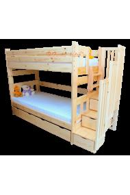 Lit superposé avec escalier rangement et lit gigogne Enrique 3 200x90 cm
