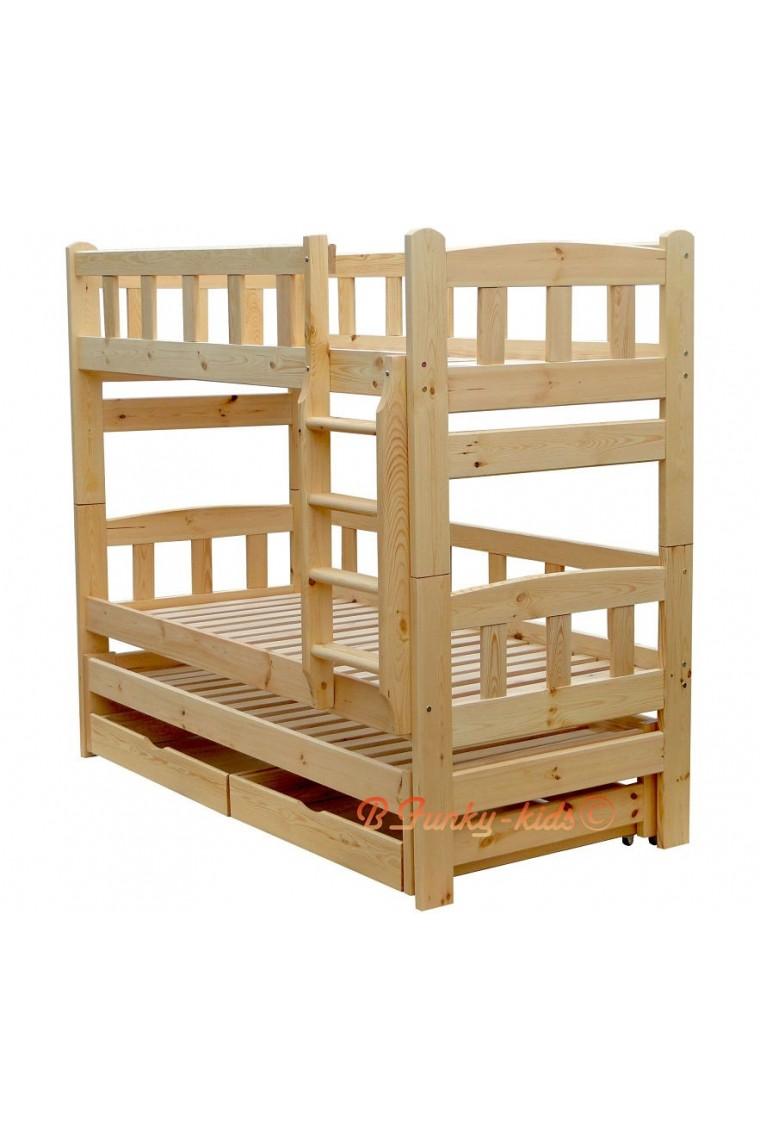 Lit superpos avec lit gigogne nicolas 3 avec tiroirs 180x90 cm - Lit superpose pour 3 personnes ...