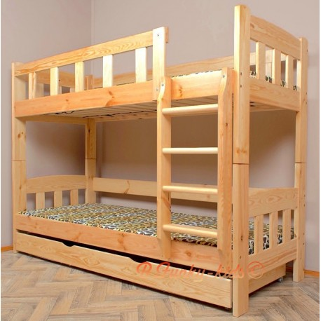 Lit superposé en bois massif Inez avec matelas et tiroir 180x80 cm
