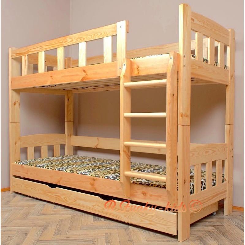 Lit superpos en bois massif inez avec matelas et tiroir 180x80 cm - Lit double avec tiroir pour matelas ...