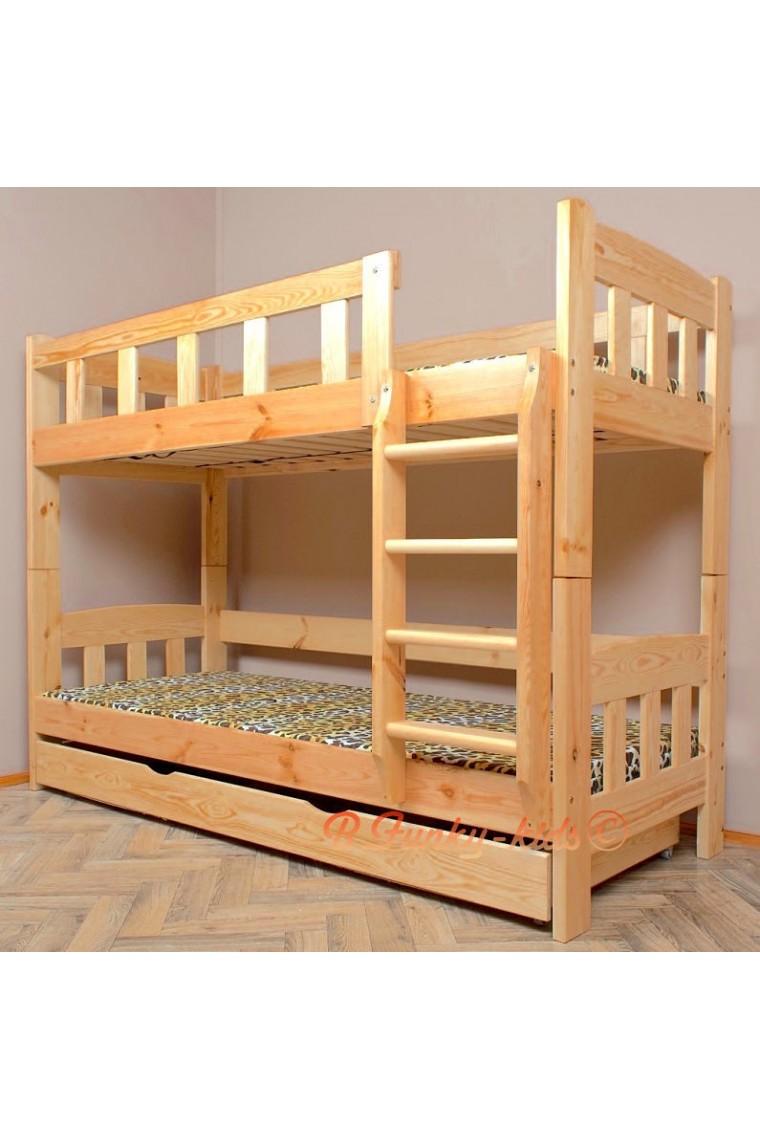 Lit superpos en bois massif inez avec matelas et tiroir 160x80 cm - Lit superpose avec tiroir couchage ...