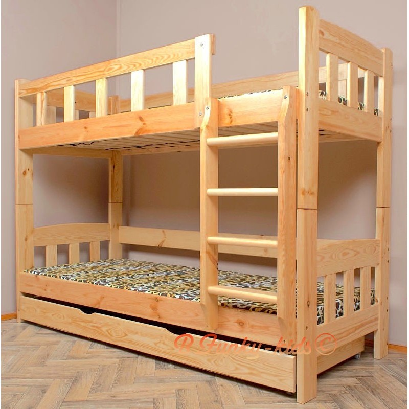 Lit superpos en bois massif inez avec matelas et tiroir 180x90 cm - Matelas pour tiroir lit ...