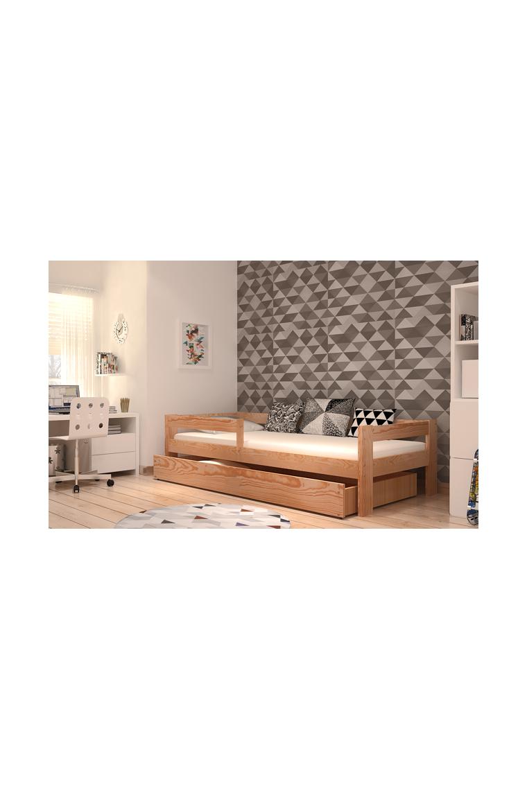 Lit en bois de pin massif dino avec tiroir et matelas 180x80 cm - Lit en pin avec tiroir ...