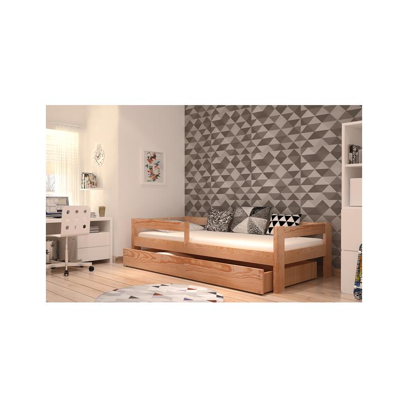 Lit en bois de pin massif dino avec tiroir et matelas 180x80 cm - Lit bois massif tiroir ...