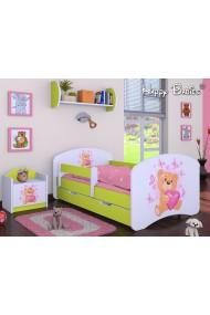 Lit enfant Happy Vert Collection avec tiroir et matelas
