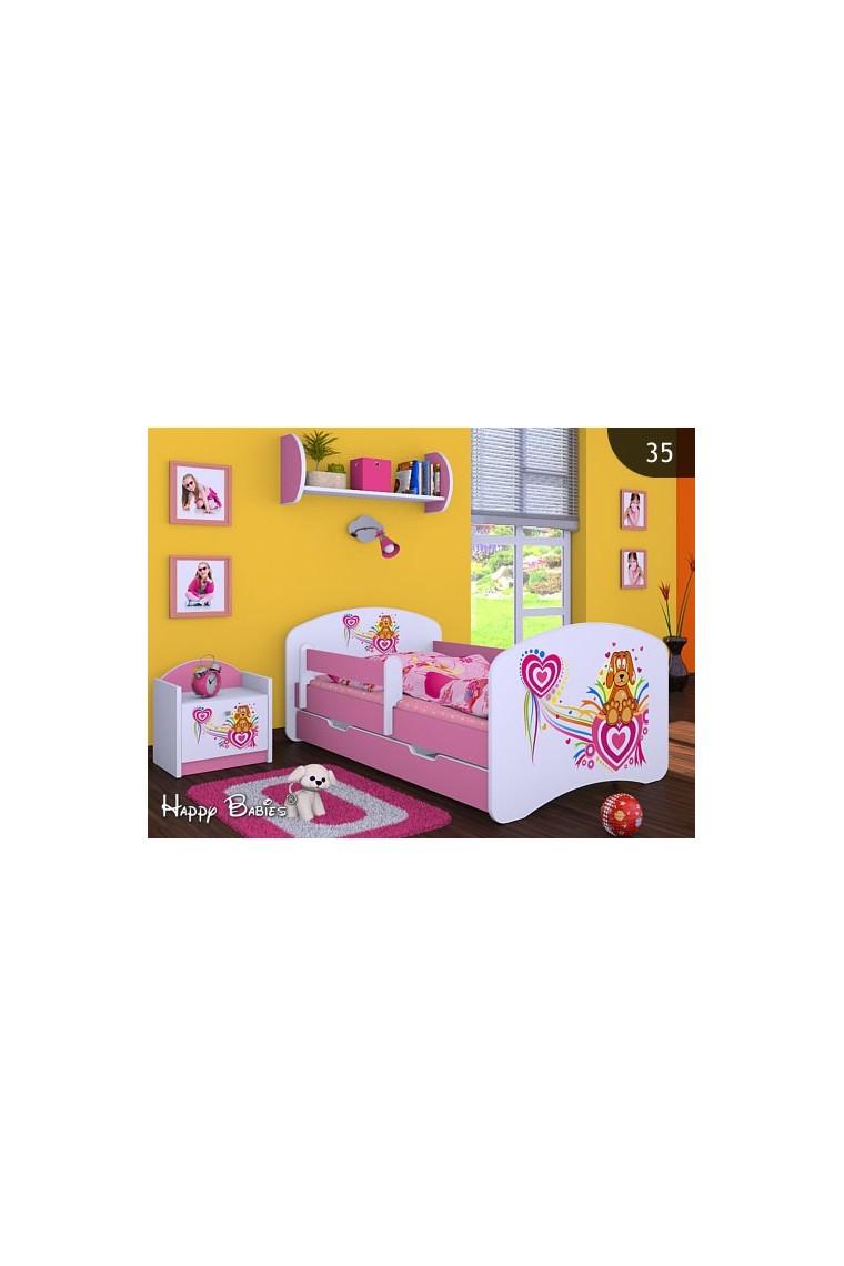 Lit enfant happy rose collection avec tiroir et matelas - Lit enfant avec matelas ...