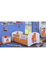 Lit enfant Happy Orange Collection avec tiroir et matelas