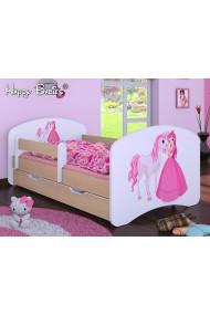 Lit enfant Happy Poirier Collection avec tiroir et matelas