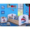 Lit enfant Happy Poirier Collection avec tiroir et matelas 140x70 cm