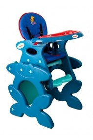 Chaise haute transformable en table et chaise bleu-rouge