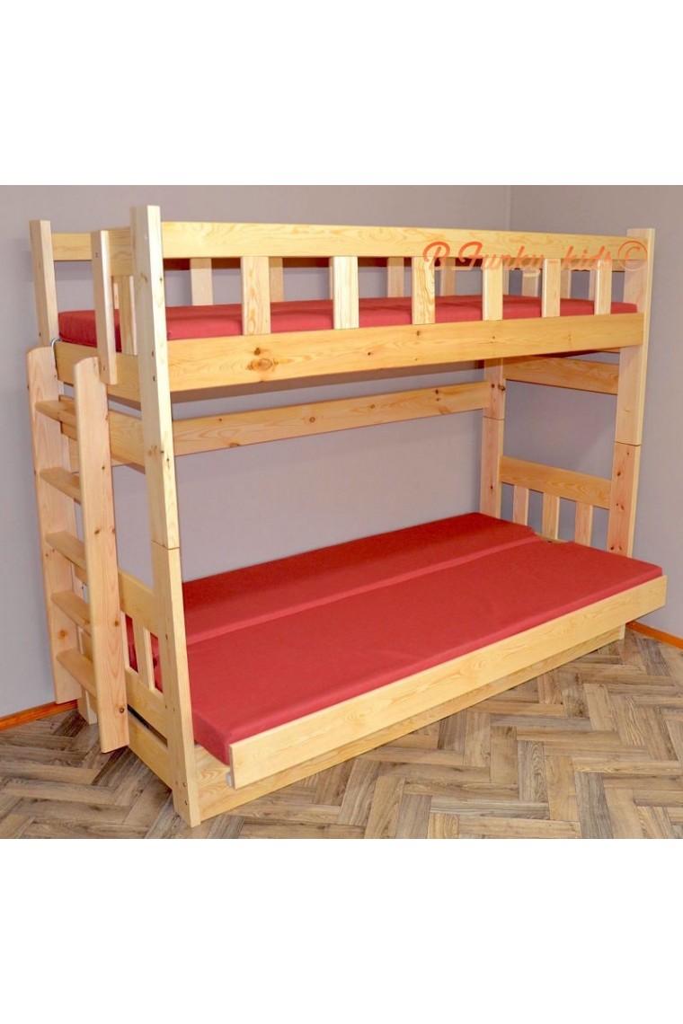 Lit superpos en bois massif fabio avec matelas 200x90 et 200x120 cm - Matelas pour lit superpose ...