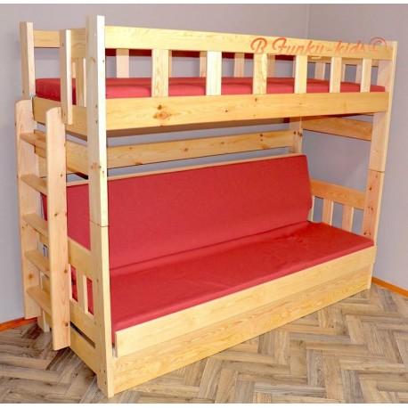 Lit superposé en bois massif Fabio avec matelas 200x90 et 200x120 cm