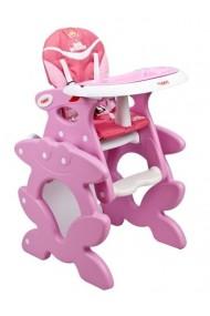 Chaise haute transformable en table et chaise rose