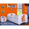 Lit enfant garcon Collection de Dessins avec tiroir et matelas 140x70 cm