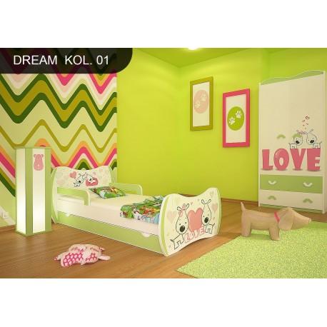 Lit enfant Le Rêve Vert Collection avec tiroir et matelas